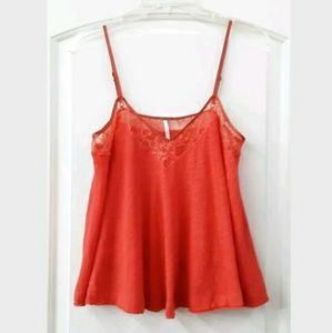 Free People Small Coral Flowy Cotton/Linen Tank